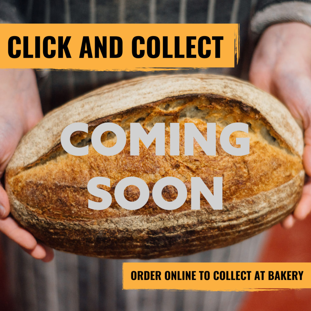 A photo of a pair of hans holding a loaf of white sourdough. The text overlay says click and collect, order online to collect at the baker, coming soon