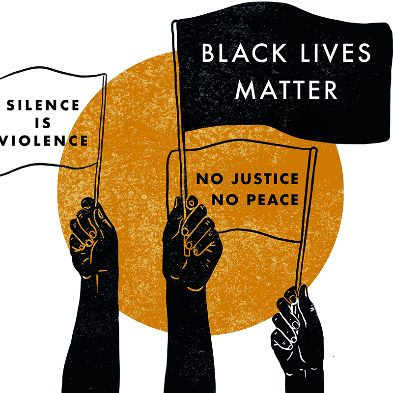 An image of a piece of art by Rosanna Morris. Three black hands hold flags in the air against the background of a gold circle. The flags read Silence is Violence, Black Lives Matter and No Justice No Peace respectively.